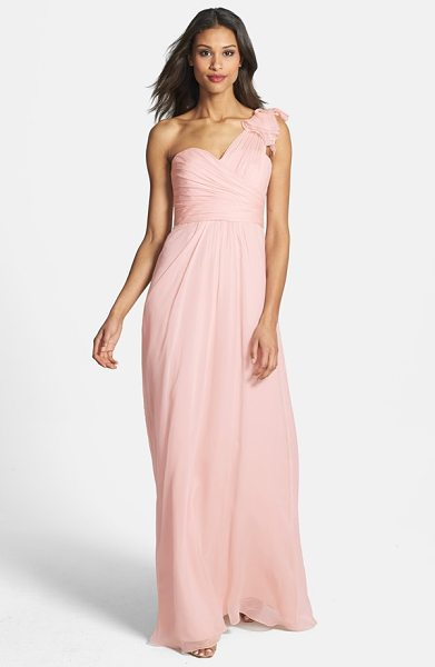 Amsale amsale illusion shoulder crinkled silk chiffon dress in blush - A sheer swath culminates in a sumptuous ruffle atop one...