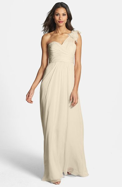 Amsale illusion shoulder crinkled silk chiffon dress in champagne - A sheer swath culminates in a sumptuous ruffle atop one...