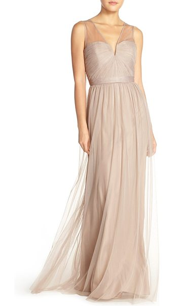 Amsale 'alyce' illusion v-neck pleat tulle gown in latte - Precisely pleated tulle wraps the strapless bodice of a...