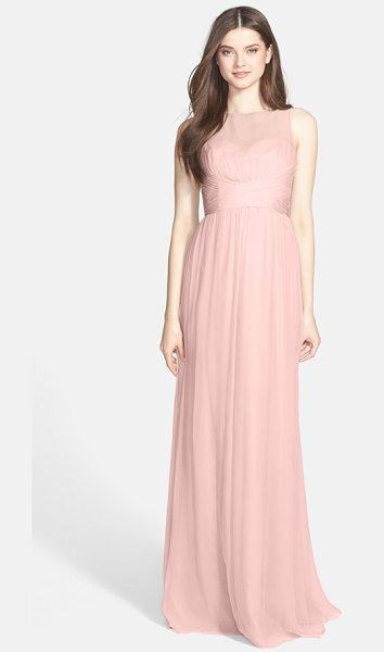 Amsale illusion yoke crinkled silk chiffon gown in blush - A silk-chiffon gown features a sheer yoke, pleat-wrapped...