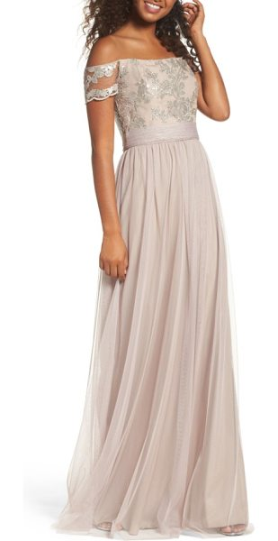 Amsale ireland embellished off the shoulder gown in latte - Shimmering sequins embroidered at the off-the-shoulder...