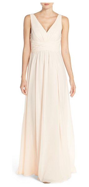 Amsale 'justine' double v-neck chiffon gown in bellini - Ruched panels wrap the waist to accentuate the narrowest...