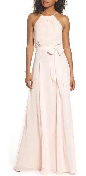 AMSALE kyra chiffon halter gown in blush - An enchanting chiffon gown showcases pretty shoulders...