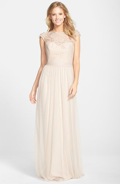 Amsale lace & tulle cap sleeve gown in fawn - Lovely lace styles the fluttering cap sleeves, illusion...