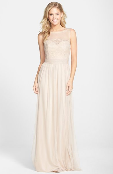 Amsale lace & tulle gown in fawn - Delicate lace overlays a tulle bodice to create a sweet...