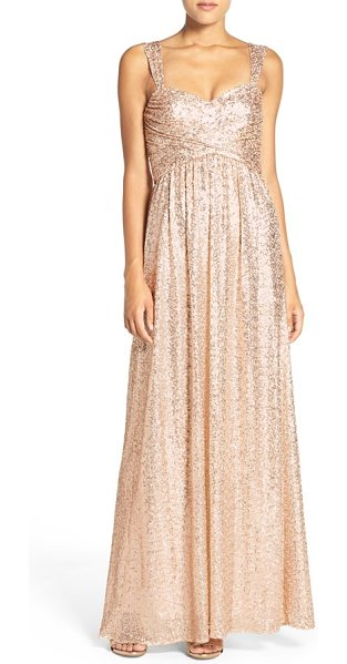 Amsale 'loire' sweetheart neck sequin gown in rosegold - Allover sequins bring glam shimmer to a beguiling gown...