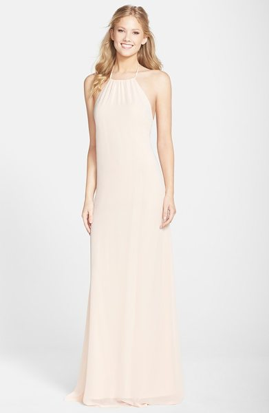 Amsale open back chiffon halter gown in nude - Simple and sultry, this A-line gown tethered to halter...