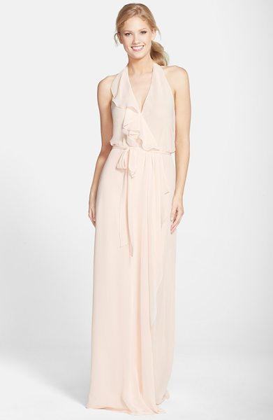 AMSALE long chiffon wrap dress - A cascading ruffle emphasizes the flattering wrapped...