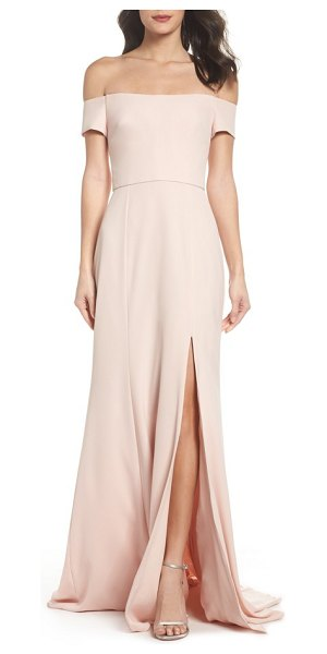 Amsale off the shoulder crepe gown in blush - A thigh-high slit adds instant allure to an elegant...
