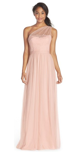 Amsale one-shoulder lace & tulle gown in blush