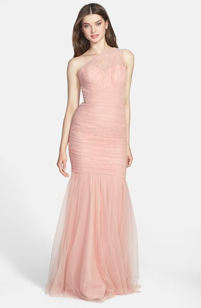 AMSALE one-shoulder tulle mermaid gown - Gauzy tulle is deftly shirred and wrapped around the...