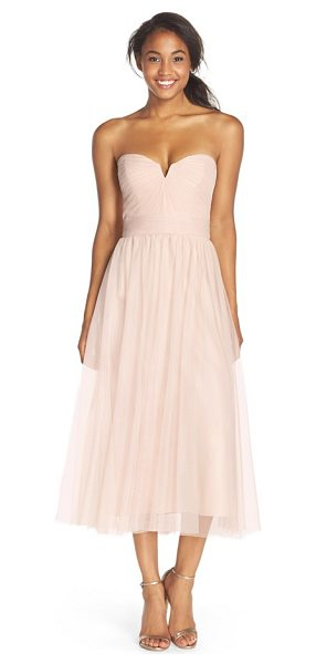 Amsale pleat tulle strapless tea length dress in fawn - Pleats radiate from the alluringly notched neckline to...