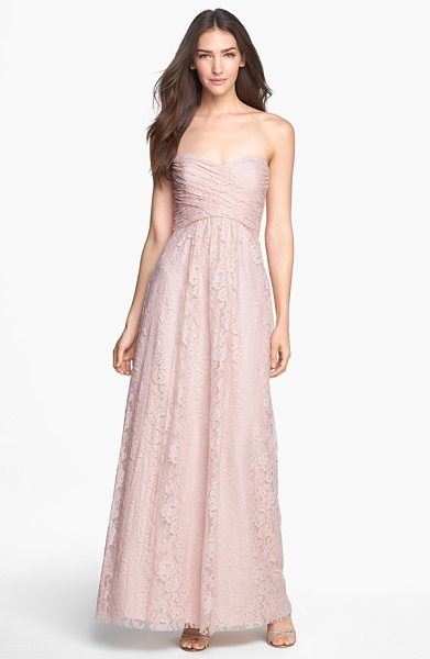 Amsale pleated lace sweetheart gown in blush - Rich lace composes this sweetheart-neckline gown pairing...