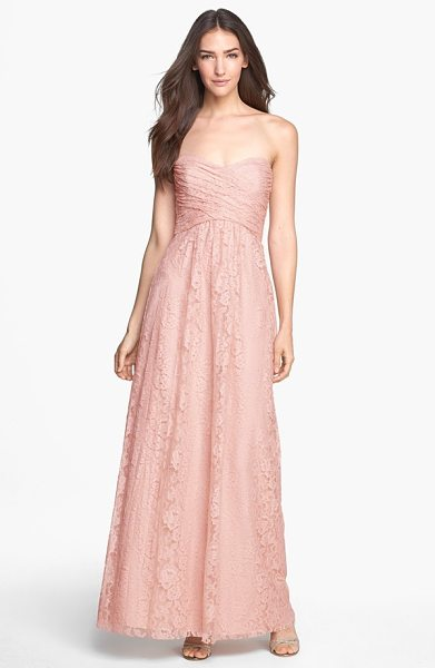 Amsale pleated lace sweetheart strapless gown in blush - Timeless, ever-romantic floral lace defines the...