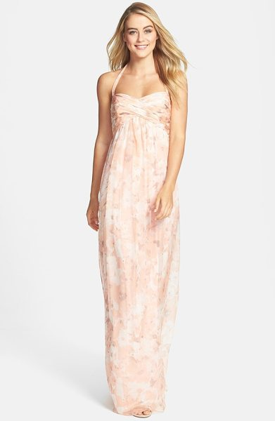 Amsale print crinkled silk chiffon halter gown in shell - This dreamy halter gown cut from luxurious silk chiffon...