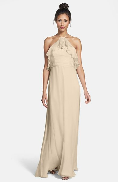 Amsale ruffle crinkled silk chiffon halter gown in champagne - A diaphanous ruffle ripples from the dainty halter...