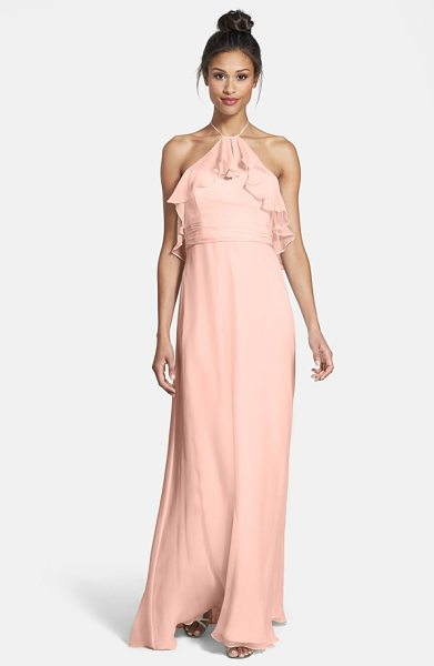 Amsale ruffle crinkled silk chiffon halter gown in blush - A diaphanous ruffle ripples from the dainty halter...