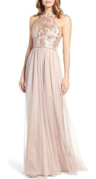 Amsale sheridan sequin halter dress in latte - Look angelic and ethereal in a romantic halter gown...