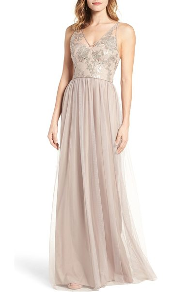 Amsale sora sequin & lace gown in latte - Embroidered with shimmering sequins, this romantic gown...