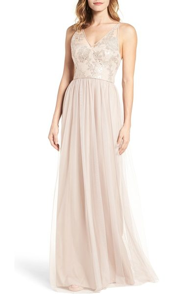 Amsale sora sequin & lace gown in fawn - Embroidered with shimmering sequins, this romantic gown...