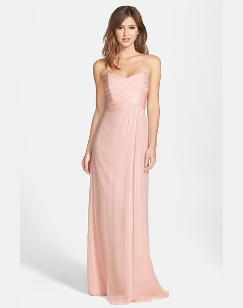 Amsale strapless crinkle chiffon gown in blush - Ruching flatters the bodice of a silk chiffon gown...