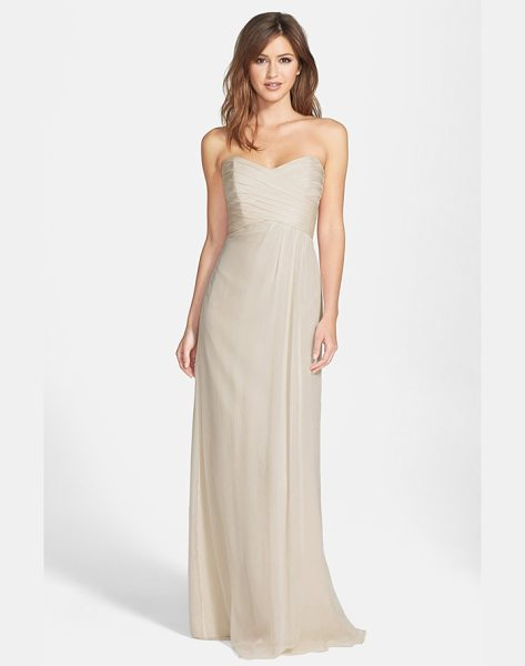 Amsale amsale strapless crinkle chiffon gown in champagne - Ruching flatters the bodice of a silk chiffon gown...