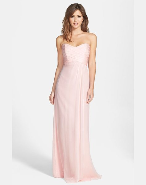 Amsale amsale strapless crinkle chiffon gown in blush - Ruching flatters the bodice of a silk chiffon gown...