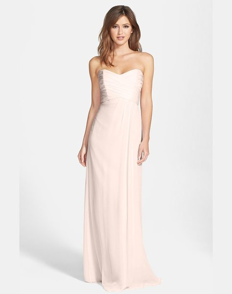 Amsale amsale strapless crinkle chiffon gown in bellini - Ruching flatters the bodice of a silk chiffon gown...