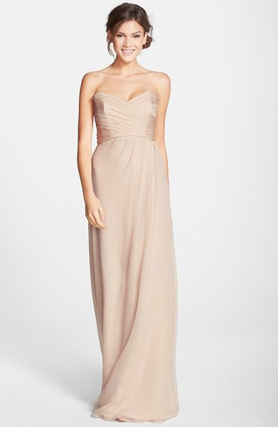 Amsale strapless crinkle chiffon gown in fawn - Ruching flatters the bodice of a silk chiffon gown...
