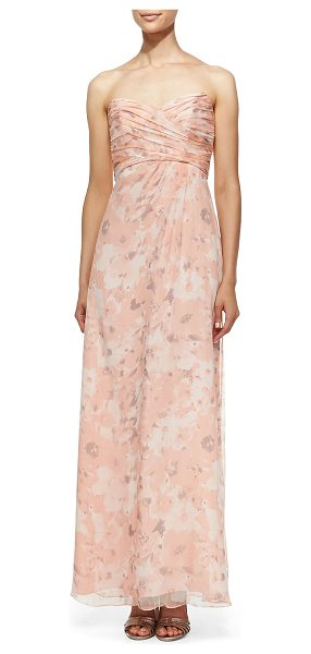 Amsale Strapless printed gown in shell -  Printed chiffon gown by Amsale. Strapless, sweetheart...