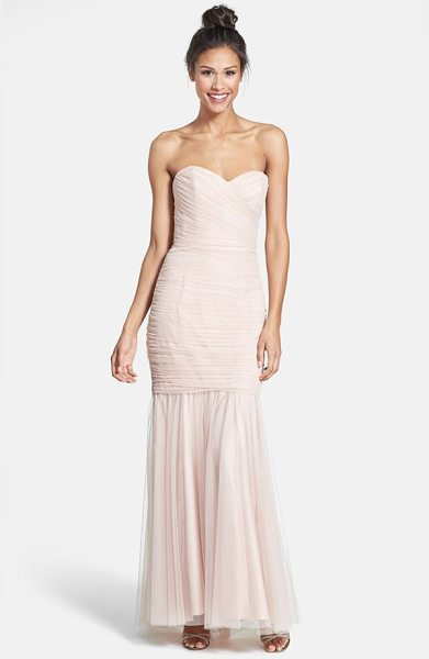 AMSALE strapless tulle mermaid gown - Gauzy tulle is deftly shirred and wrapped around the...