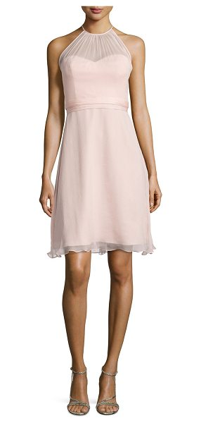 Amsale Sweetheart-illusion chiffon cocktail dress in blush - Amsale chiffon cocktail dress ideal for bridal parties....