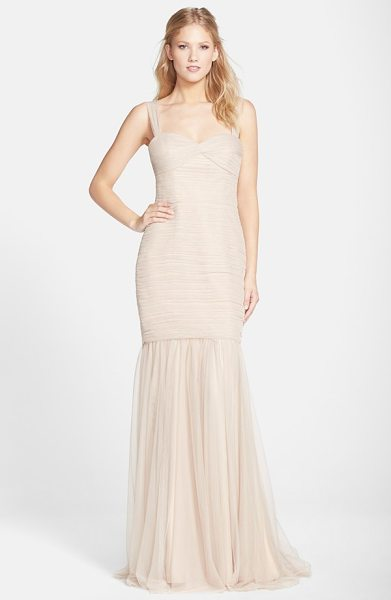 Amsale tulle mermaid gown in fawn - Meticulously pleated tulle flatters the figure from the...
