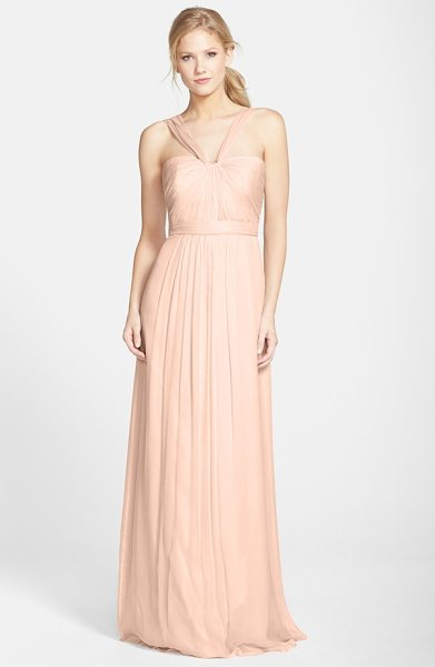 Amsale x-strap silk chiffon gown in blush - Fine, radiating pleats texture the fitted bodice of a...