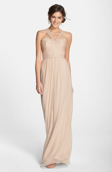 AMSALE x-strap silk chiffon gown in fawn - Fine, radiating pleats texture the fitted bodice of a...