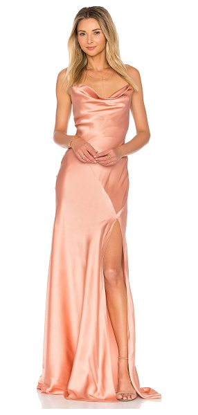 AMUR Karlie Gown in blush - Silk blend. Dry clean only. Partially lined. Crisscross...