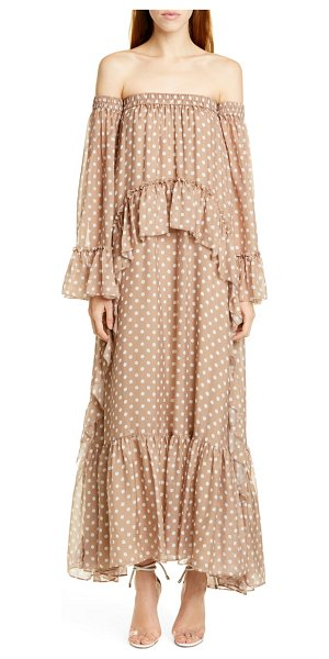 AMUR odessa off the shoulder polka dot silk maxi dress in brown