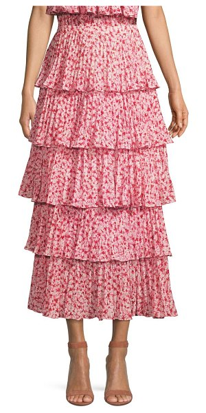 AMUR paisly tiered ruffle skirt in pink - From the Saks It List: Garden Party Florals Cascading...