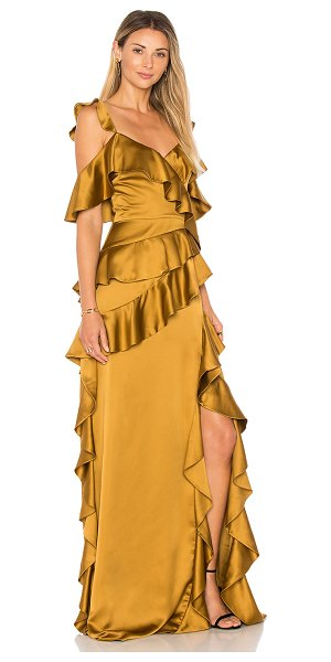 AMUR Pearl Gown in tan - Silk blend. Dry clean only. Fully lined. Tiered ruffle...