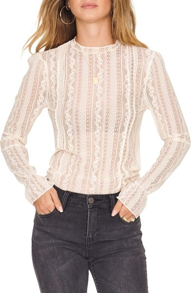 AMUSE SOCIETY all about that lace top in sand dollar