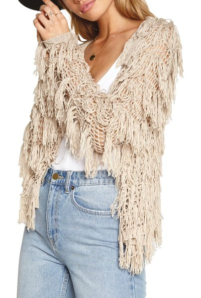 AMUSE SOCIETY chelsea fringe sweater in oatmeal heather - Enhance the carefree vibe of your look with this crochet...