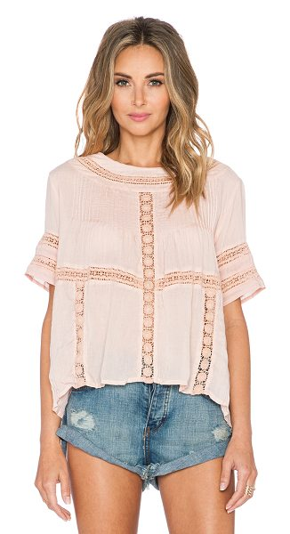 AMUSE SOCIETY Clover top - 100% viscose. Pleated detail. Lace applique accent. Back...