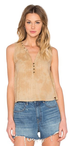 AMUSE SOCIETY Marielle Tank in tan - 99% cotton 1% metallic. Hand wash cold. Front button...