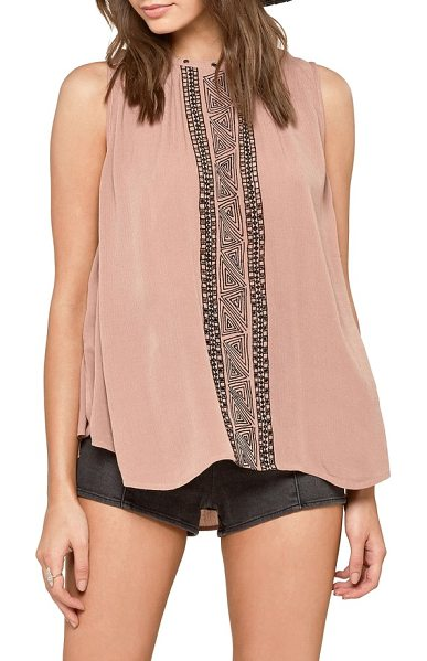 AMUSE SOCIETY monaco swing top in desert taupe - Geometric embroidery adds bohemian charm to this breezy...