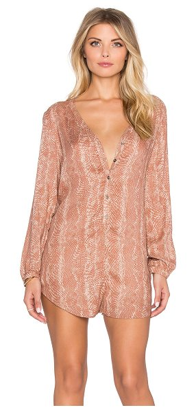 AMUSE SOCIETY Roxane romper in brown - Poly blend. Partial front button placket. Button cuffed...