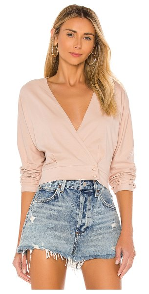 AMUSE SOCIETY shandie long sleeve knit top in taupe