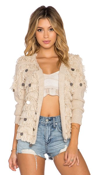 AMUSE SOCIETY Sunday cardigan in beige - 100% acrylic. Dry clean only. Open front. Fringe trim...