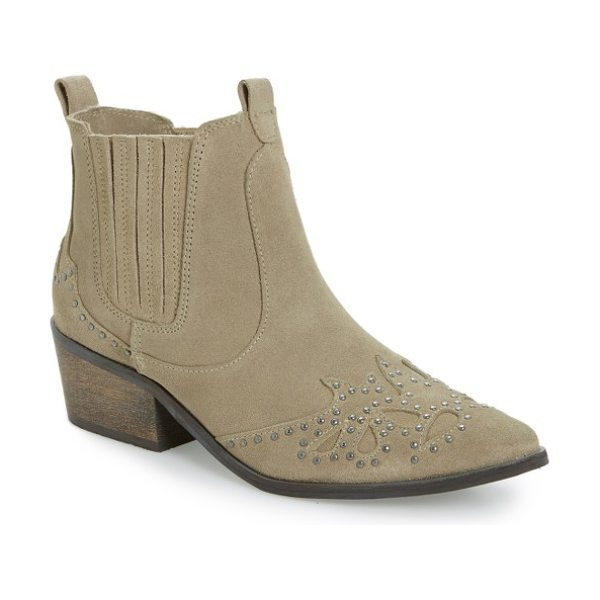 AMUSE SOCIETY X MATISSE backstage bootie in taupe leather - Round antiqued studs and a chunky heel highlight the...