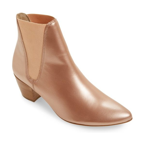 AMUSE SOCIETY X MATISSE sass bootie in rose gold leather - Lustrous, rose-gold colored leather adds uptown charm to...
