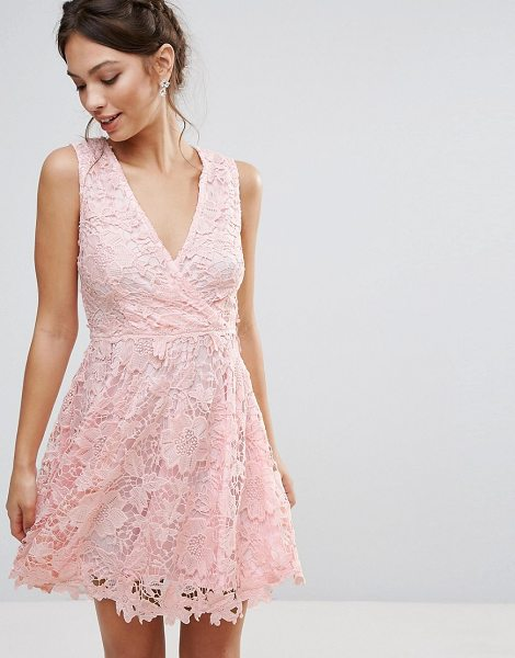"""Amy Lynn Occasion 3D Floral Lace Dress in pink - """"""""Lace dress by Amy Lynn, Lined lace, V-neck, Wrap..."""